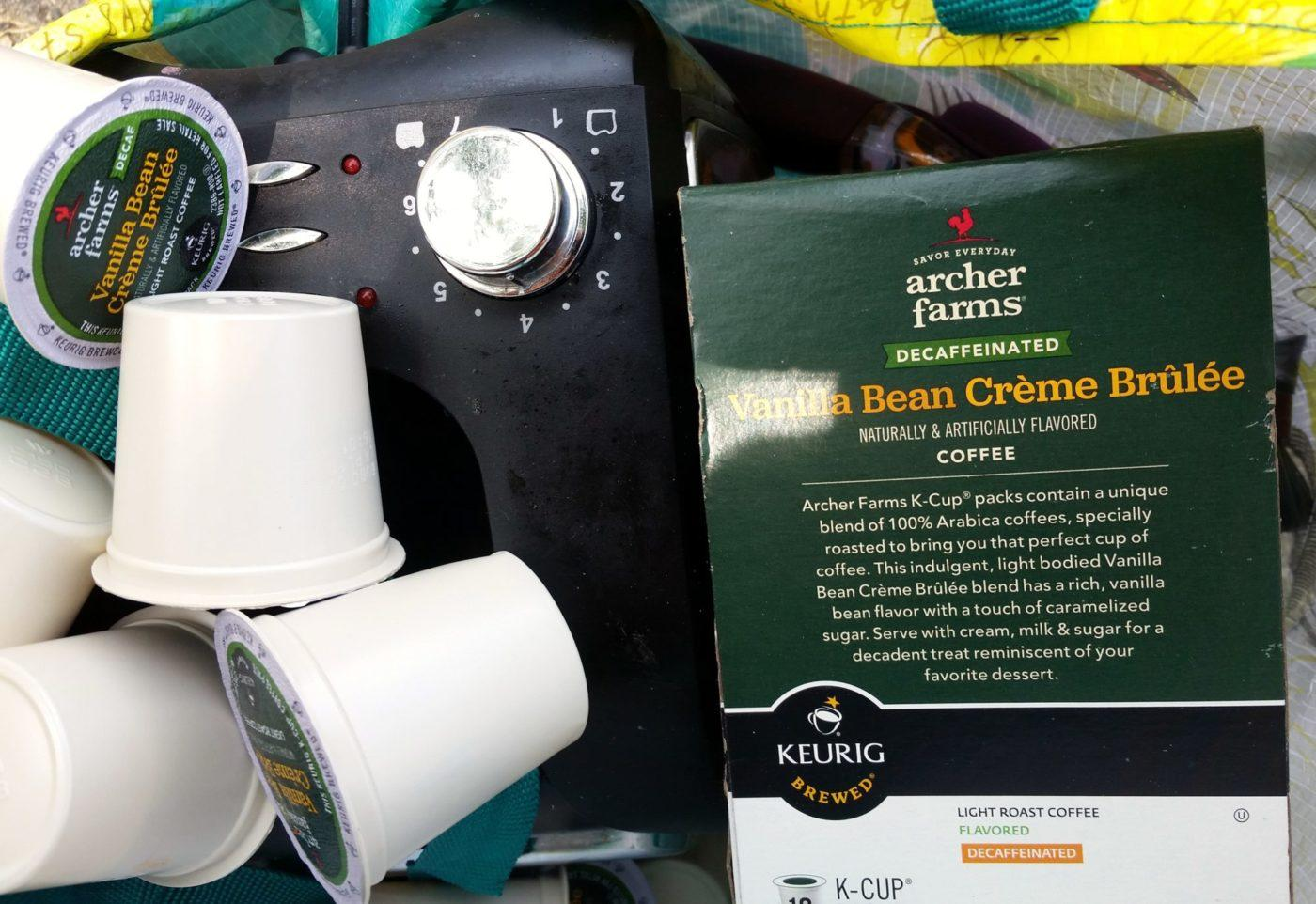 archer farms vanilla creme brulee K-cups and toaster